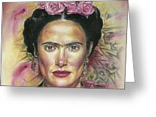 Salma Hayek As Frida Kahlo Greeting Card