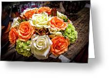 Salmon Rose Bouquet Greeting Card