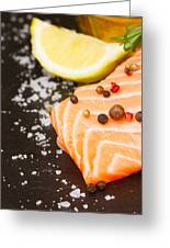 Salmon Steak And Spices Greeting Card