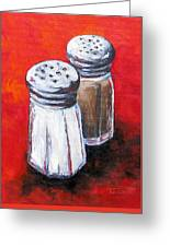 Salt And Pepper On Red Greeting Card