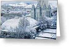 Salt Lake City Tabernacle And Temple Greeting Card