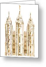 Salt Lake City Watercolor Sepia Greeting Card