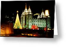 Salt Lake Temple Christmas Tree Greeting Card by La Rae  Roberts