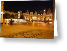Salt Square In Wroclaw At Night Greeting Card