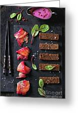 Salted Salmon With Beetroot  Greeting Card