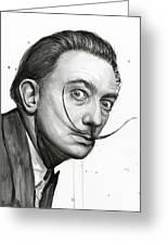 Salvador Dali Portrait Black And White Watercolor Greeting Card