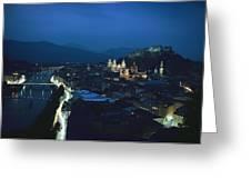 Salzburg, Austria, Night View Greeting Card by George F. Mobley