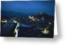 Salzburg, Austria, Night View Greeting Card