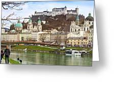 Salzburg City And Fortress  Greeting Card