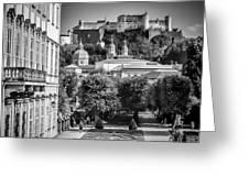 Salzburg Wonderful View To Salzburg Fortress Monochrome Greeting Card