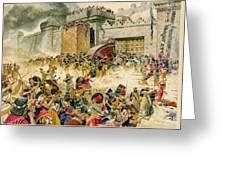 Samaria Falling To The Assyrians Greeting Card