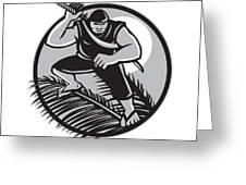 Samoan Ninja On Top Of Coconut Front Circle Greeting Card