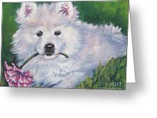 Samoyed Pup With Peony Greeting Card
