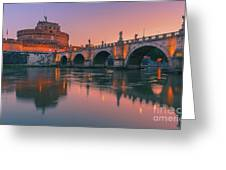 San Angelo Bridge And Castel Sant Angelo Greeting Card