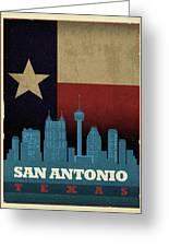 San Antonio City Skyline State Flag Of Texas Art Poster Series 022 Greeting Card