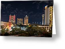 San Antonio Cityscape At Night Greeting Card
