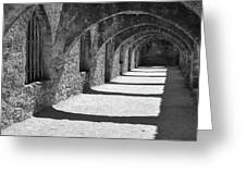 San Antonio Mission San Jose - Black And White Greeting Card by Gregory Ballos