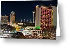San Antonio Skyline At Christmas Greeting Card