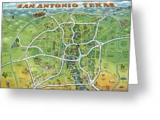 San Antonio Texas Cartoon Map Greeting Card