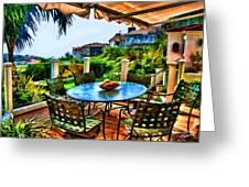 San Clemente Estate Patio 2 Greeting Card by Kathy Tarochione
