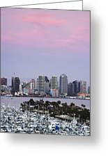 San Diego Skyline And Marina At Dusk Greeting Card