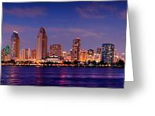 San Diego Skyline At Dusk Greeting Card