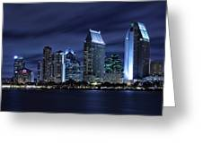 San Diego Skyline At Night Greeting Card