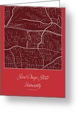San Diego State Street Map - San Diego State University San Dieg Greeting Card