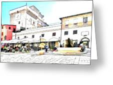 San Felice Circeo Bar And Fountain In The  Square Greeting Card