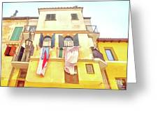 San Felice Circeo Building With The Put Clothes Greeting Card