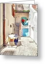 San Felice Circeo Man Puts On Clothes Greeting Card