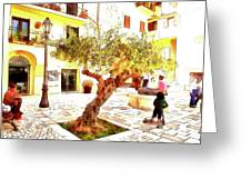 San Felice Circeo Olive Tree In The Square Greeting Card