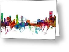 San Francisco And Pittsburgh Skylines Mashup Greeting Card