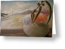 San Francisco Bay With Floral Greeting Card