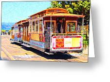 San Francisco Cablecar At Fishermans Wharf . 7d14097 Greeting Card by Wingsdomain Art and Photography
