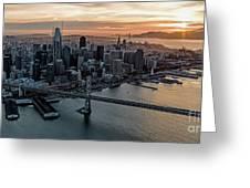 San Francisco City Skyline At Sunset Aerial Greeting Card