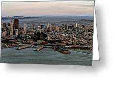 San Francisco City Skyline Panorama At Sunset Aerial Greeting Card