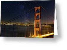San Francisco City Skyline Through Golden Gate Bridge Greeting Card