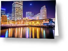 San Francisco Downtown City Skyline At Night Greeting Card