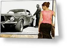 San Francisco Museum Of Art, Frank Bullitt, Steve Mcqueen, Ford Mustang Gt 390, Fastback Greeting Card