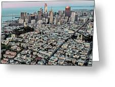 San Francisco Skyline And Coit Tower Greeting Card