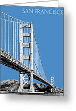 San Francisco Skyline Golden Gate Bridge 2 - Slate Blue Greeting Card