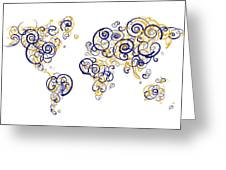 San Francisco State University Colors Swirl Map Of The World Atl Greeting Card