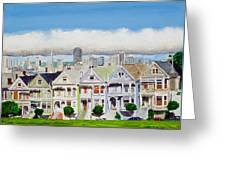 San Francisco's Painted Ladies Greeting Card by Mike Robles