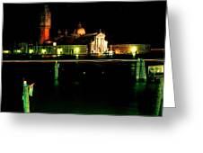 San Georgio Maggiore In Venice At Night Greeting Card