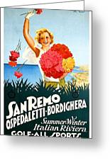 San Remo, Italian Riviera, Girl With Flowers Greeting Card