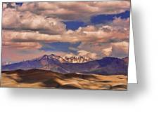 Sand Dunes - Mountains - Snow- Clouds And Shadows Greeting Card