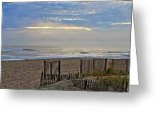 Sand Fence And Beach Greeting Card