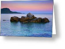 Sand Rocks In The Sea At Sunset Greeting Card