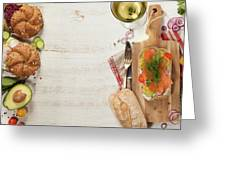 Sandwich With Salmon, Cucumber, Cream Cheese, Dill And Tomatoe Greeting Card